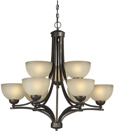 Forte Lighting 2374-09-32 Transitional 9-Light 2-Tier Chandelier with Shaded Umber Glass, Antique Bronze Finish