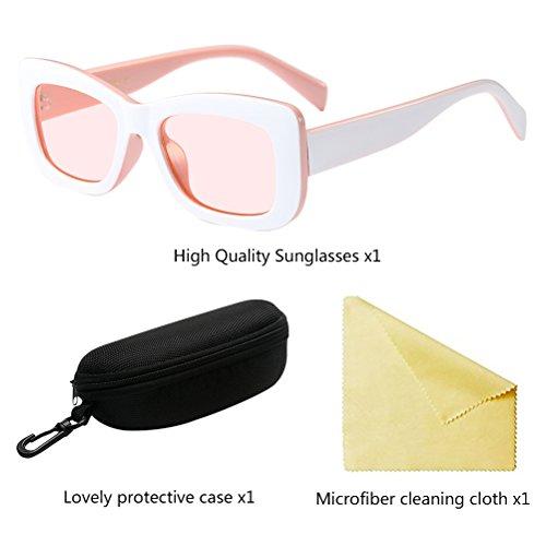 Soleil l'été de Lunettes Goggles White Zhuhaitf Retro Star pour amp;Pink Femmes Eyeglasses Style UV400 PZBYRqw