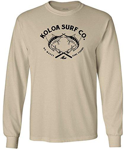 Joe's USA Koloa Surf 2 Marlins Logo Long Sleeve Cotton T-Shirt-Sand/b-L (Marlin Long Sleeve Tee)