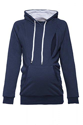 Happy Mama. Womens Maternity Hoodie Nursing Sweatshirt Kangaroo Pocket. 324p (Navy, US 10, XL) (Maternity Pullover)