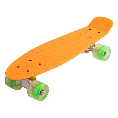 57cm Mini Cruiser board Retro Skateboard mit LED Leuchtrollen und Aluminium Trucks ABEC-7 Classics