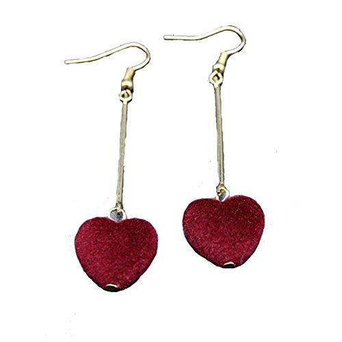 Fashion Velvet Heart Dangle Earrings For Women Girls Gold Color Long Tassel Hook Earrings Jewelry Gift (red)