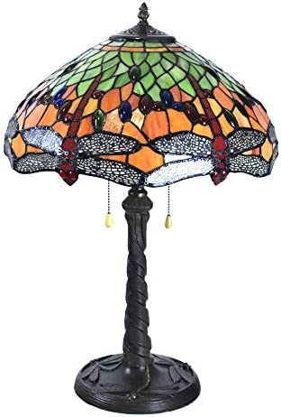 24 Inches Tall Tiffany Style Lamps Dragonfly Table Desk Light Stained Glass 16 Inches Wide Lamp Shade Dale Unique Victorian Lamp for Living Bedside Coffee Room College Dorm