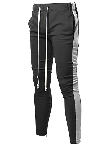 Style by William Casual Side Panel Long Length Drawstring Ankle Zipper Track Pants Black White M by Style by William