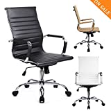 GTPOFFICE Chair Modern Ribbed Swivel Conference Chair Leather High Back Ergonomic Adjustable Chair with Arms (BLACK, medium)