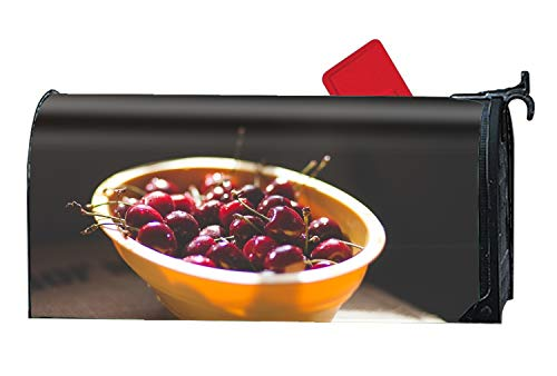 WilBstrn Cherries Cherry Berries Plate Shadow Mailbox Wrap Personalized Magnetic Mailbox Cover 9 x 21 inch