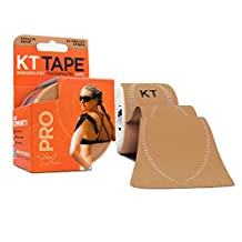KT TAPE PRO Synthetic Elastic Kinesiology 20 Pre-Cut 10-Inch Strips Therapeutic Tape, Stealth Beige