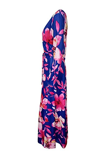 Les Femmes Blansdi Casual Sexy Col V Manches 3/4 Floral Wrap Clubwear Forme Robe Robe Maxi Évasé Bleu Foncé