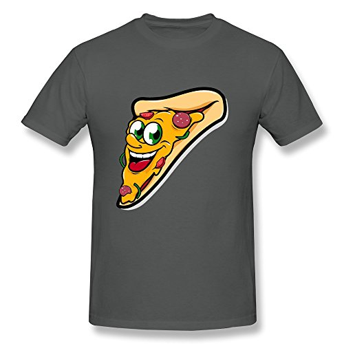 Kazzar Men's Happy Pizza Slice Character T Shirt S (Coolest Cartoon Characters)