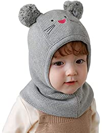Connectyle Boys Kids Warm Winter Hat with Earflap Beanies Cute Fleece Lined Hood Windproof Hat Grey