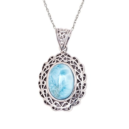 Sterling-Silver-Inlay-Larimar-Vintage-Oval-Pendant