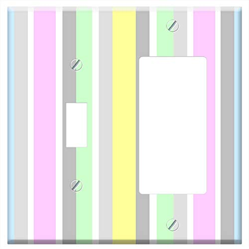1-Toggle 1-Rocker/GFCI Combination Wall Plate Cover - Stripes Vertical Pastels Pink Blue Grey White