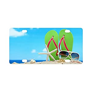 Valentine's Day Gifts Sunglasses Flip Flops Starfish On Beach Design Durable License Plate Frame Metal Personalized Car Tag 12 X 6 inches (4 Holes)