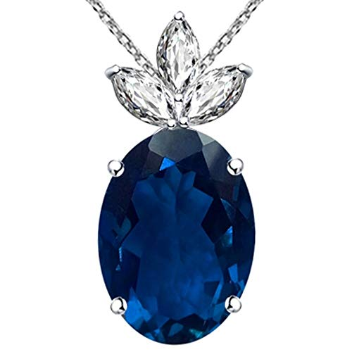 15.23 Ct Blue Oval Sapphire And Cz 925 Sterling Silver Pendant For Women: Nickel Free Beautiful And Stylish Genuine Anniversary Gift For Wife