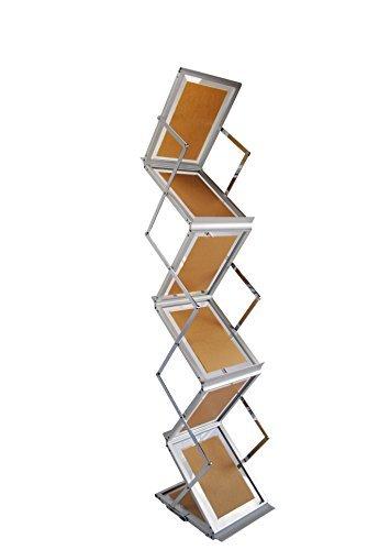 ESPOSITORE catalogo Info stand pieghevole cromo/alluminio DIN A4Verticale 2lati con pratica borsa da trasporto BGF Flag International GmbH