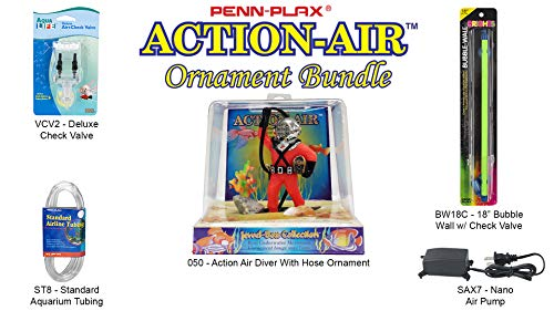 - Penn Plax Action-Air Ornament Bundle Gift Set - Comes with Air Pump, Tubing, Bubble Wall, Gang Valve, and Action Ornament for Your Aquarium (Diver & Hose)