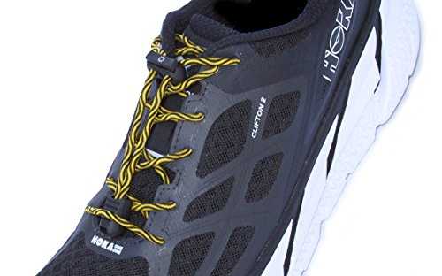 BoomLaces Laces With Power Stretch Elastic Athletic No Tie Shoelaces With Lock. For Kids, Women, Men. Shoe Laces Lock For Comfort, Security, Safety. (Yellow/Black Laces With Lock)