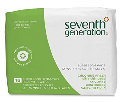 Seventh Generation Chlorine Free Pads, Pack of 12, Packaging May Vary