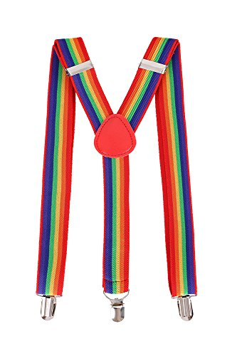 Livingston Cosplay Party Accessory Adjustable Elastic Suspenders for - Men Rainbow