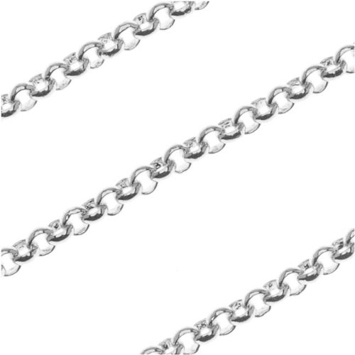 Antiqued Silver Plated Slim Rolo Chain 2mm Bulk By The Foot