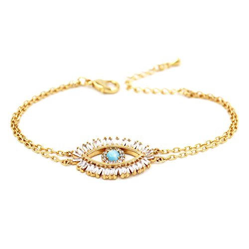 (Turkish Evil Eye Bracelet Cats Eye Gold Plated Faith Protection Lucky Jewelry for Women and Girls Party Special Days(Evil Eye)