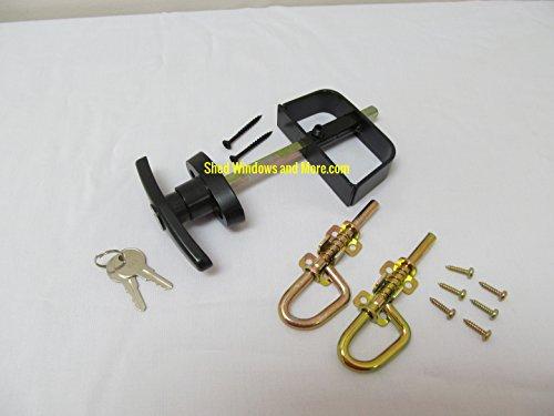 Shed T-Handle Lock Set 5-1/2' Black and Loop Style Barrel Bolt