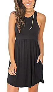 MOLERANI Women's Sleeveless Loose Plain Dresses Casual Short Dress with Pockets