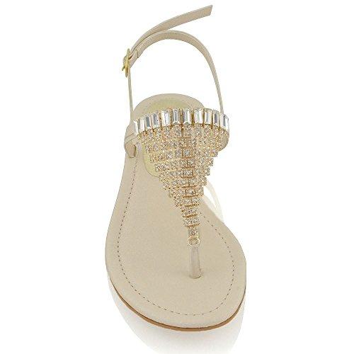 Essex Glam Kvinner Thong Sandaler Diamante Slingback Flat Ferie Sandaler Naken
