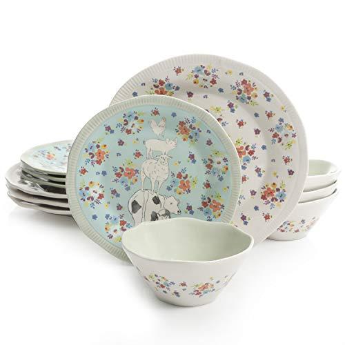 Urban Market by Gibson 99869.12RM Life on the Farm 12pc dinnerware set, Blue/White]()
