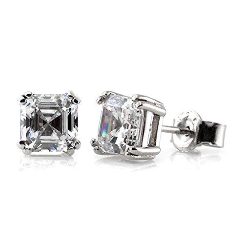 BERRICLE Rhodium Plated Sterling Silver Asscher Cut Cubic Zirconia CZ Solitaire Stud Earrings 4mm (Asscher Stud)