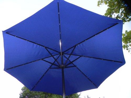 Blue Solar LED Umbrella with 32 led's - Solar Blue patio umbrella - LED