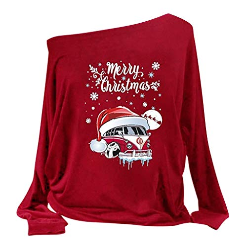 WM & MW Merry Christmas Pullover Tops, Women Santa Car Printed Ugly Christmas Off Shoulder Sweatshirt Top Plus Size(Red,S) (Best Selling Car In Saudi Arabia 2019)