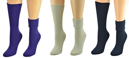 Acrylic Rib Socks (Sierra Socks Women's Solid Color Ribbed Crew Turn cuff Acrylic School Uniform 3 Pair Pack Socks 300616 (Socks Size: 9-11, Shoe Size: 4-10, Purple/Khaki/Navy))