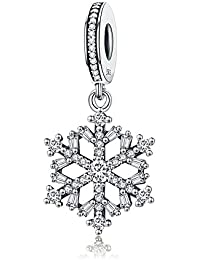Christmas Let it Snow Winter Holiday Snowflake 925 Sterling Silver Bead Fits European Charm Bracelet
