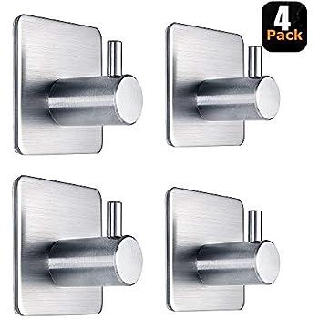 Adhesive Hooks Heavy Duty Wall Hooks Waterproof Stainless Steel Hooks for Hanging Coat, Hat,Towel Robe Hook Rack Wall Mount- Bathroom and Bedroom 4-Packs