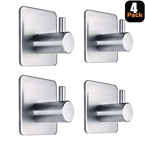 Adhesive Hooks Heavy Duty Wall Hooks Waterproof Stainless Steel Hooks for Hanging Coat, Hat,Towel Robe Hook Rack Wall Mount- Bathroom and Bedroom 4-Packs