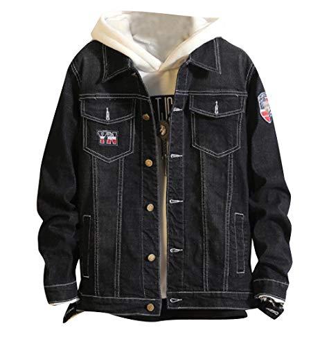 2 Denim Button Regular Down Jacket Applique RkBaoye Premium Fit Men's qxSza