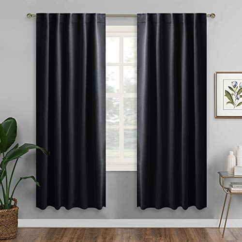 RYB HOME Blackout Curtains for Bedroom, Back Tab & Rod Pocket Curtain Drapes for Dining Room/Living Room/Garage/Staircase Windwow, Wide 42 x Long 72 inch, Black, One Pair