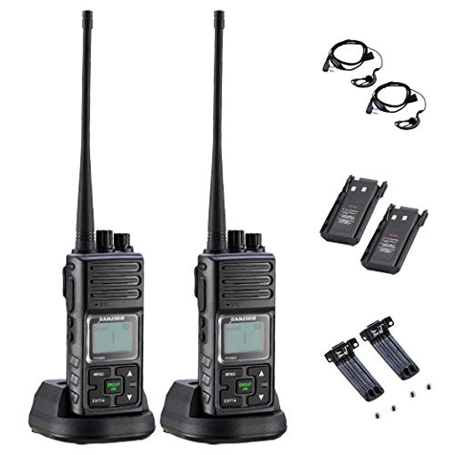 Sanzuco Long Range Rechargeable Two-Way Radio with Headset, Handheld Reprogrammable Walkie Talkie with Announcement Function, 3000mAh Li-Battery, Dock Charger Included (Black, 2 Pack)