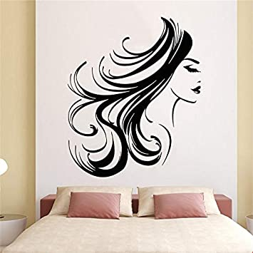 wZUN Cara de niña Tatuajes de Pared Mujer Pelo Largo Peinado Sala de Maquillaje salón de Belleza decoración Pegatinas de Vinilo decoración del Dormitorio 63X51 cm