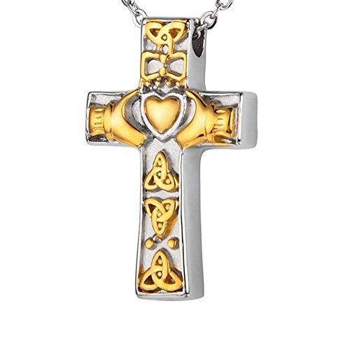 Irish Urn - AMIST Cross Cremation Jewelry Irish Celtic Claddagh Cremation Necklace Urn Memorial Keepsake Pendant (Gold)