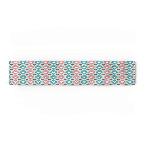 ARTSHOWING Valentine's Day Table Runner Party Supplies Fabric Decorations for Wedding Birthday Baby Shower 16x72inch Sweet Romance Hearts Teal Pink Rhombus Lattice