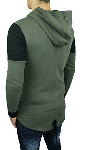 Felpa maglione uomo verde Slim Fit Cardigan maglioncino con cappuccio