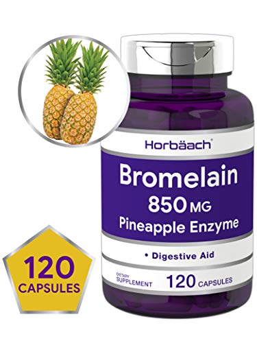 Horbaach Bromelain 850 mg Supplement | 120 Capsules | Supports Digestive Health | Pineapple Enzyme | Non-GMO, Gluten Free