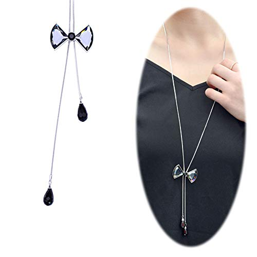 Cleacloud Crystal Bow Necklace for Women Long Chain Rhinestone Pendant Girls Fashion Accessories Black