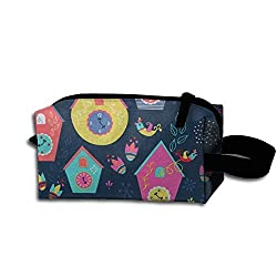Adorable Cuckoo Bird Clock Travel Cosmetic Bag Tote Pencil Case Pouch Makeup Pouch For Girls