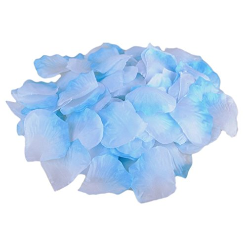 Decora 1000 Pieces Silk Rose Petals for Wedding Confetti and Party Decoration(Blue Plus White)