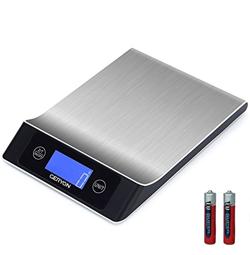 Food Scale Geryon Kitchen Cooking Scale, Multifunction & Electric, Food Weighing Used for Weed, Meat, Coffee, Baking -- Stainless Steel (0.05 Liquid Electric Ounce)
