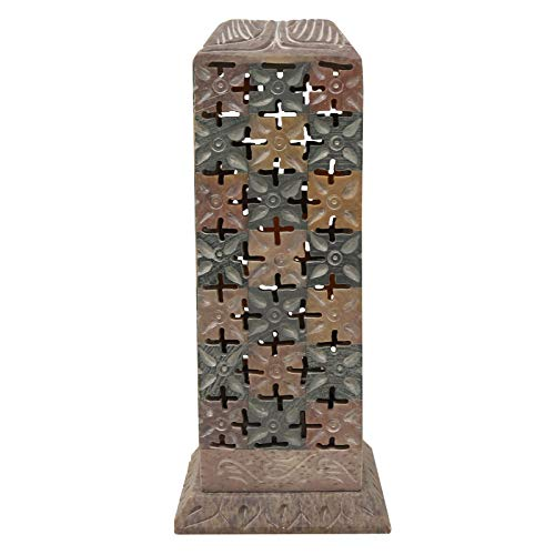 CRAFTSTRIBE Soapstone Incense Burner Tower Large Holder Joss-Stick Ash Catcher (Incense Stone Tower)