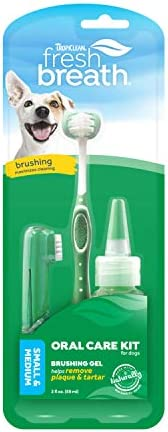Kit de cuidados bucais Fresh Breath da TropiClean para animais de estimação, pequeno, feito nos EUA